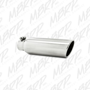 MBRP T5147 304 SS Round Angle Cut Clamp-On Mirror Polished Exhaust Tip