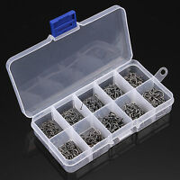 500 PCS Fishhook Fishing Hook Assorted Sizes with Barb in Box Sharp Hook 10 Size