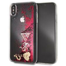 Genuine GUESS Raspberry Hearts Glitter Gold Hard Case for iPhone XS Max