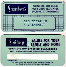 Vintage Store Credit Card Issued By Shainberg's, Memphis, Tn: 1970s