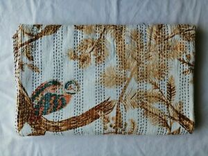 Indian owls Print Handmade Kantha Quilt Throw cotton Blanket Queen Bedspread