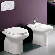 Sanitari bagno arredobagno in ceramica vaso completo di sedile e bidet monoforo