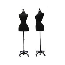 Historical Vintage Female Dress Form Black Mannequin Torso With Black Wheel Base