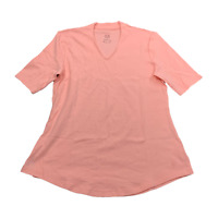 ISAAC MIZRAHI LIVE! Essentials Size Small Coral Sht Slv V-neck Tee New $36 Value