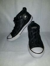 Converse All Star Sneaker Tennis Shoes Size 2 Kids Youth Black Leather Footwear