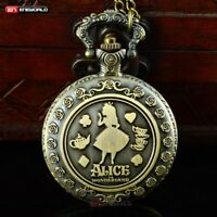 Vintage Alice In Wonderland Pocket Watch Chain Quartz Necklace Pendant Antique