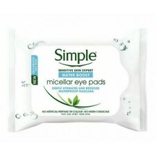 NEW SIMPLE MICELLAR MAKE-UP REMOVER EYE PADS 30 PADS FOR DRY SKIN WATER BOOST