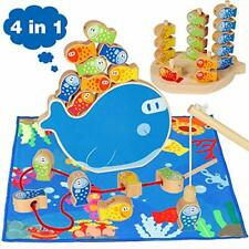 Fishing Game Kids 4 in 1 Wooden Magnetic Fishing Educational Toys Magnet Poles