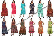 Indian Mandala Long Dress Hippie Women Tunic Beach Cotton Nigh gown Sleepwear