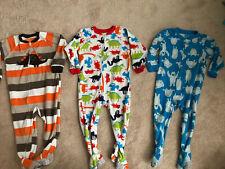 Lot Of Three Toddler Boy Girl Fleece Carters Pajamas Dinosaur Yeti 2T Pre-Owned