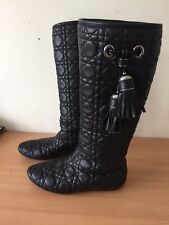 Christian Dior Black Boots, Real Fur Inside,With Tassels Size 37,5 Uk 4