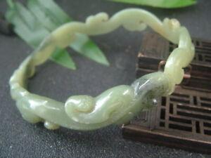 Bigger Chinese Antique Nephrite HE TIAN Jade bangle Dragon-RUYI Bracelet QING