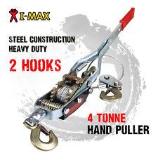 I-Max 4 Tonne Hand Winch Puller 2 Hooks 4x4 4WD Trailer Truck Comealong Hoist