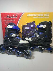 Aerowheels Inline Black Rollerblade Skates Adjustable Youth Shoe Size 1-4