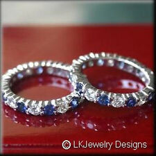 3.00CT MOISSANITE FOREVER ONE GHI & NATURAL SAPPHIRE ETERNITY BAND RING