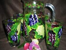 HAND PAINTED WATER PITCHER/4 TUMBLERS MULTI GRAPE SET