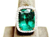 EMERALD CUSHION SHAPE 9.10 CT DIAMOND ROUND BRILLIANT SHAPE RING PLATINUM