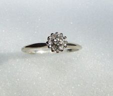 Vintage 10K White Gold & 7 Real Diamonds Engagement Band Promise Ring Size 6.5