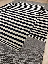 Black And White Vintage Style HandMade Kilim Area Rug 4.6x6.6 WHOLESALE AF4100