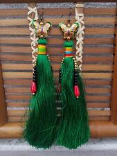 Tassel butterfly earrings cloisonne ethnic tribal green pink summer spring