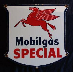 VINTAGE MOBILGAS SPECIAL GASOLINE / MOTOR OIL PORCELAIN GAS PUMP SIGN