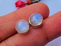 Genuine 925 Sterling Silver Studs, Fine Silver Rainbow Moonstone Stud Earring