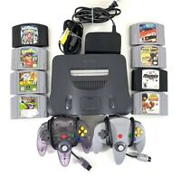 Tested Nintendo 64 - Memory & Controller Pak Cables 2 Controllers 8 Game Bundle