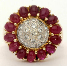 5Ct Round Cut Red Ruby Diamond Cocktail Engagement Ring 14K Yellow Gold Finish
