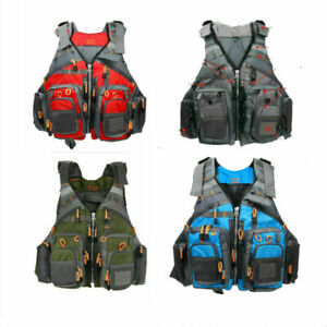 Fly Fishing Vest Adult Size Life Jacket Fishing Backpack Grey/Red/Green/Blue US