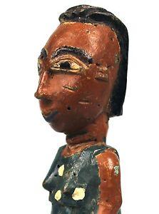 Art Africain - Ancien Lance Pierre Fronde Slingshot Baoulé Femme Colon en Pagne