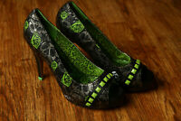 Iron Fist for Just Fabulous High Heel Shoes Size 10 US Skulls Green Roses