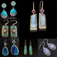Women 925 Silver Plated Earrings White Opal Moonstone Hook Dangle Drop Jewelry