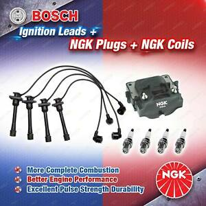 NGK Spark Plugs Coil + Bosch Leads Kit for Toyota Paseo EL44R 5EFE 1.5L 4Cyl