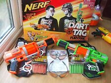 NERF DART TAG FURY FIRE 2 GUNS VEST GOGGLES 100% w/32 NEW ORANGE & GREEN DARTS