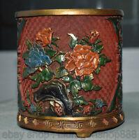 """6 """"marqué chinois rouge laqué palais pivoine fleur pinceau pot crayon vase"""