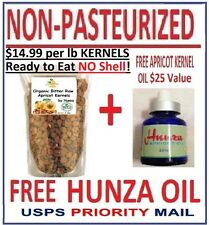 "Organic Apricot ""Kernels"" Bitter Raw READY TO EAT  Free Hunza Oil  2 lbs /32 oz"