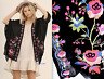 UMGEE Womens Black Embroidered 3/4 Sleeve Top Floral Kimono Cardigan Size M NWT