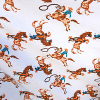 "WESTERN COWBOY PRINT FLANNEL WHITE BLUE COZY WINTER FABRIC 45"" BY THE YARD"