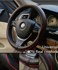 Auto 38cm Black Genuine Leather Steering Wheel Cover Anti-slip Sleeve Protector