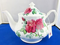 ENGLISH ROSE Fine Bone China 6 cup Teapot from Roy Kirkham, Made in England NEW