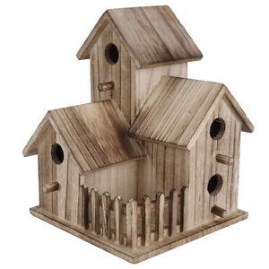 Wooden Bird House Birdhouse Hanging Nesting Box Feeder Garden Decoration