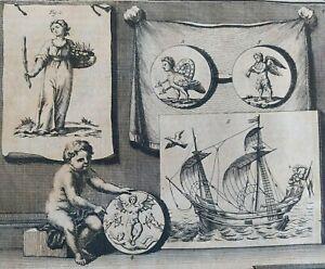 1723 Peter Van der Aa 8 Tavole con Putti Divinità Simboli Ercole Apollo Bacco
