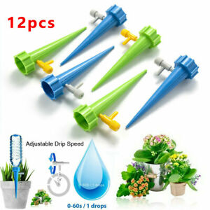 12x Cone Automatic Drip Irrigation Garden Plant Water Bottle Set Watering Spike