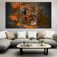 Bitcoin Cryptocurrency Money 3 pcs HD Art Poster Wall Home Decor Canvas Print