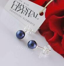 925 Sterling Silver Studs Earrings Crystals From Swarovski® PEARL Night Blue 6mm