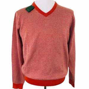 NWT Bobby Jones Merino Wool Herringbone Sweater V-Neck Rust Orange Mens Sz M