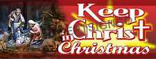 2'X5' KEEP CHRIST IN CHRISTMAS BANNER Sign Church Jesus Nativity Scene Red