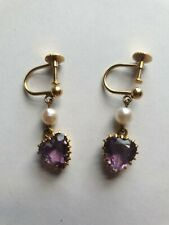 9ct Gold Heart Amethyst And Pearl Screw On Earrings Vintage