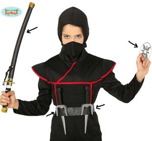 Ninja Fancy Dress Toy Weapon Set Sabre Samurai Sword, Daggers & Star fg