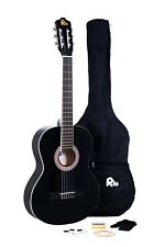 Rio 39'' Full Size 4/4 Beginner Classical Acoustic Guitar Pack Package Black